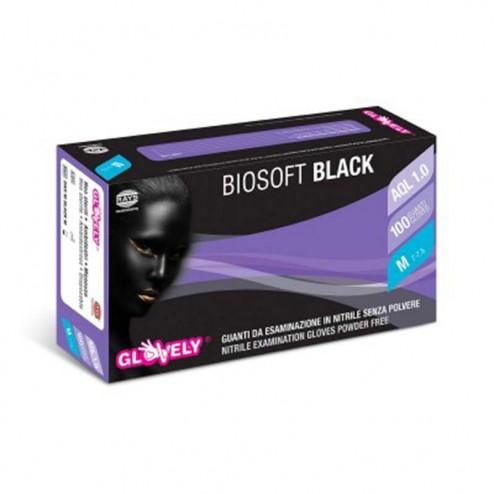 Guanti in nitrile senza polvere Biosoft Black GLOVELY